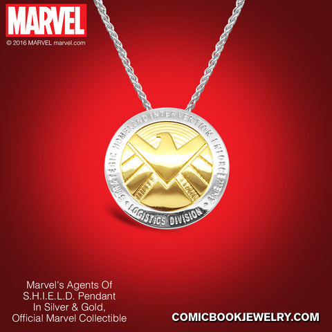 Agents of S.H.I.E.L.D. Pendant in Sterling Silver or 14K Gold, Official Marvel Collectible