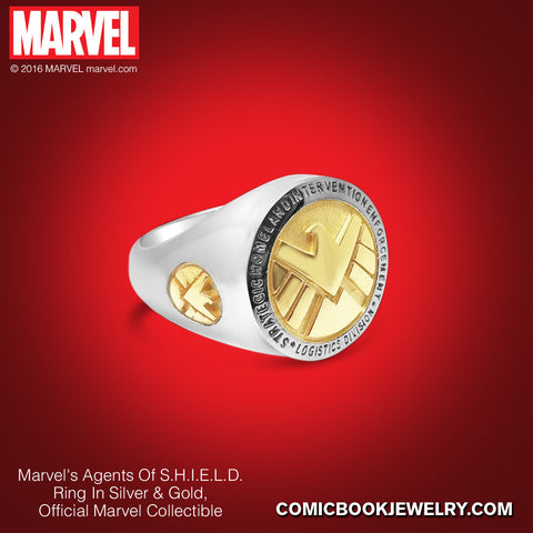 Agents of S.H.I.E.L.D. *Women's* Ring in Sterling Silver or 14K Gold, Official Marvel Collectible