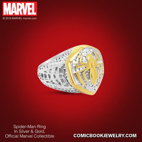 Spider-Man *Women's* Ring in Sterling Silver or 14K Gold, Official Marvel Collectible