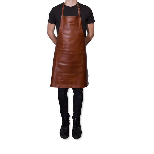 "Dutchdeluxes Full Length Coated Classic Brown Leather ""Professional Apron"""