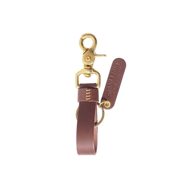 Orban & Sons Chocolate Brown Leather Swivel Snap Hook Keychain in Cotton Pouch