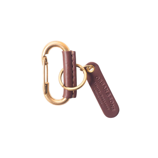 Orban & Sons Chocolate Brown Leather Carabiner Clip and Cotton Pouch in Gift Box