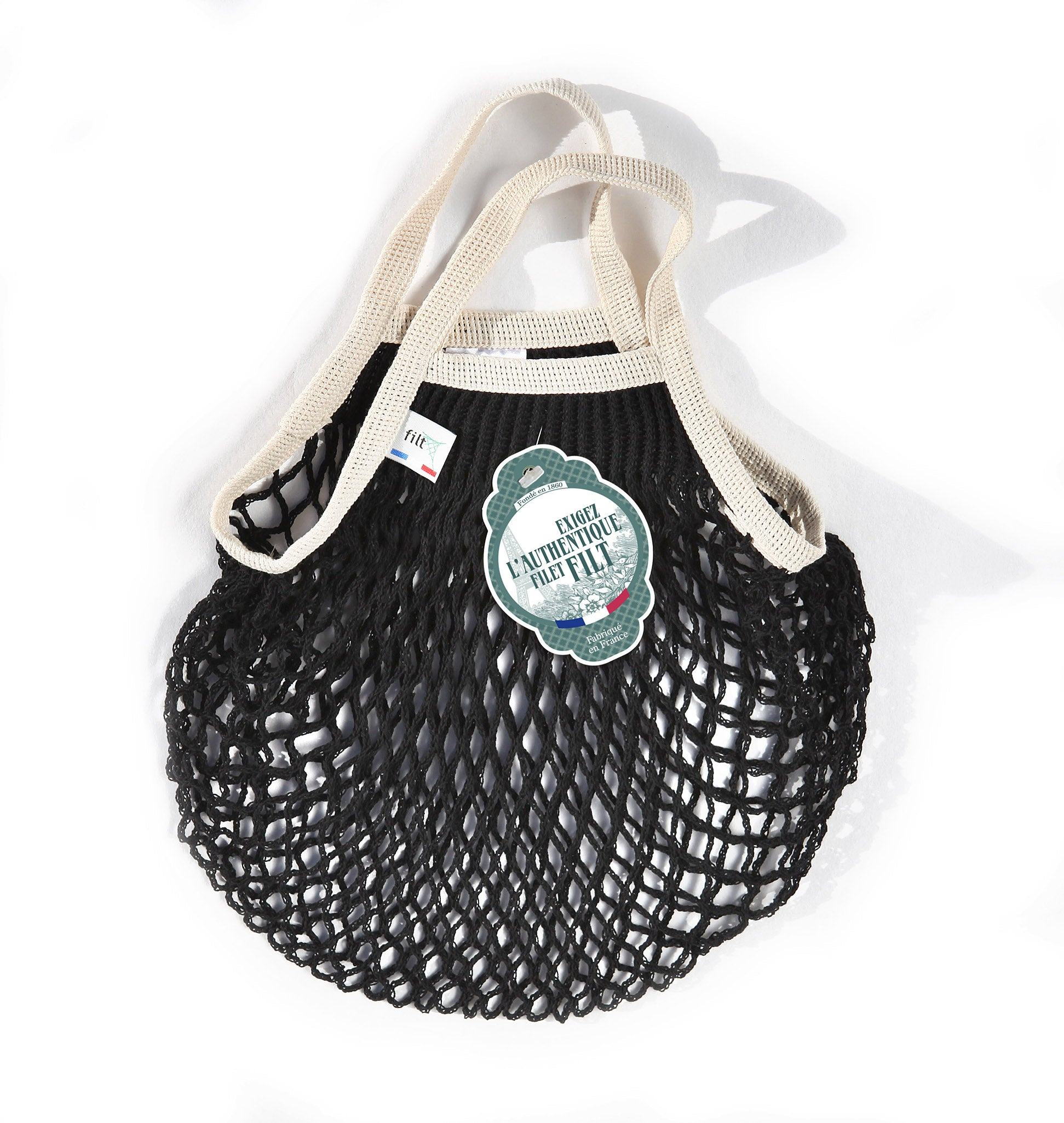 Filt Mini Bag in Black with Ivory Handles