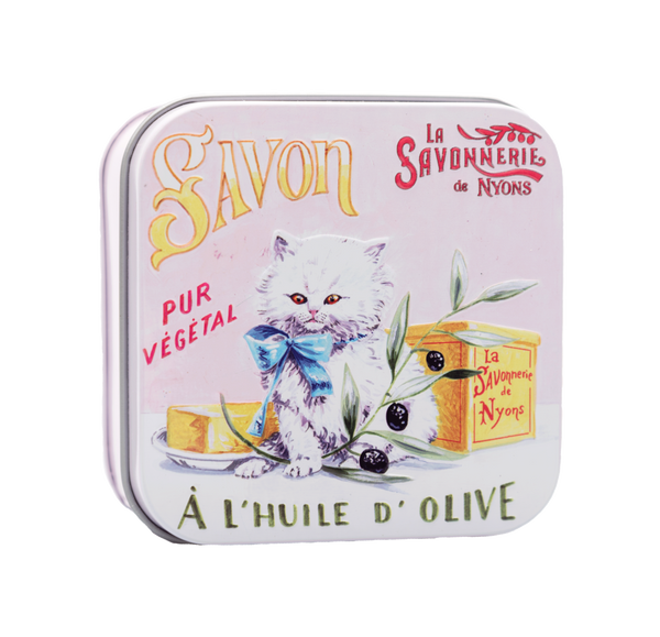 "100g Soap in Tin Box ""Chat Persan"" Savon de Coton"