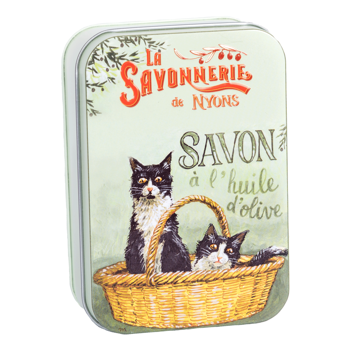 200g Soap in Tin Box - Savon Rose de Mai (Black & White Cats)