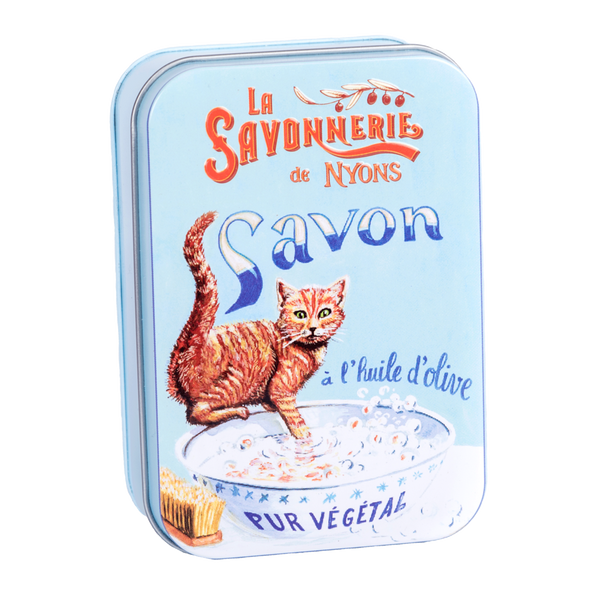 "200g Soap in Tin Box ""Chat Roux"" Savon de Coton"