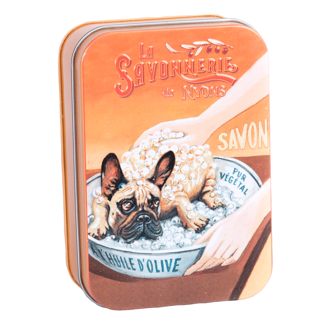 "200g Soap in Tin Box ""Chien Bulldog"" Savon Rose"
