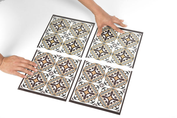 Beija Flor Brown Fleur de Lys Clear Tile Deco Stickers