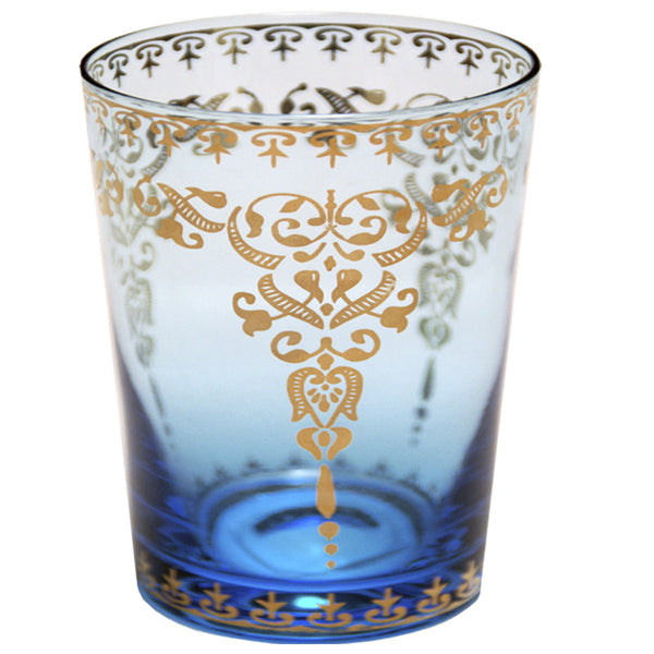 Moroccan Azure Small Glass with Gold Decal