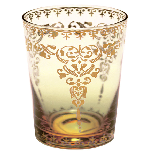 Moroccan Amber Small Glass with Gold Decal