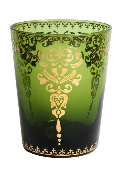 Moroccan Emerald Small Glass with Gold Decal