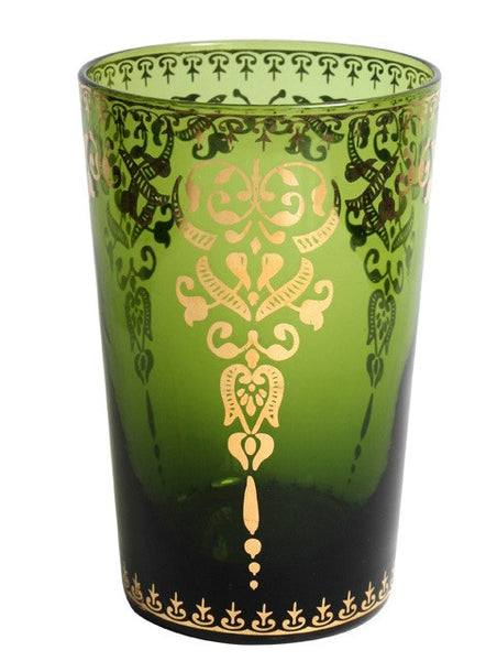 Moroccan Emerald Large Glass with Gold Decal