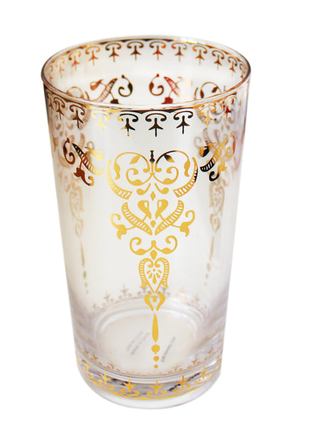 Moroccan Clear Large Glass with Gold Decal
