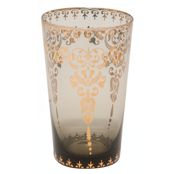 Moroccan Smoke Large Glass with Gold Decal