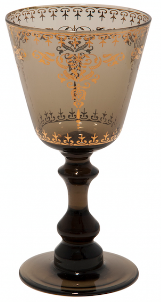 Moroccan Smoke Wine Glass with Gold Decal