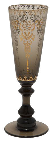 Moroccan Smoke Champagne Glass with Gold Decal