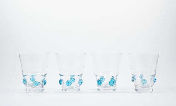 Medium Tumbler Clear Habsbourg Glass with Aqua Details