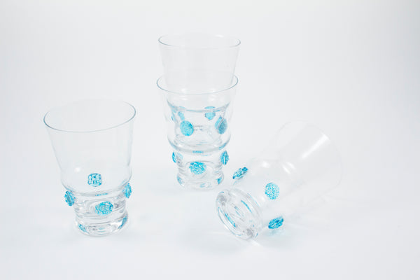 Large Tumbler Clear Habsbourg Glass with Aqua Details