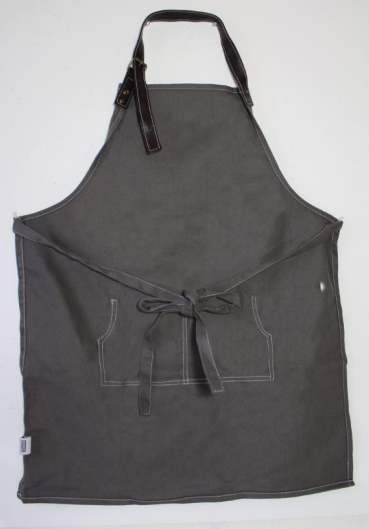 Apron with Leather Straps Organic Grey Cotton