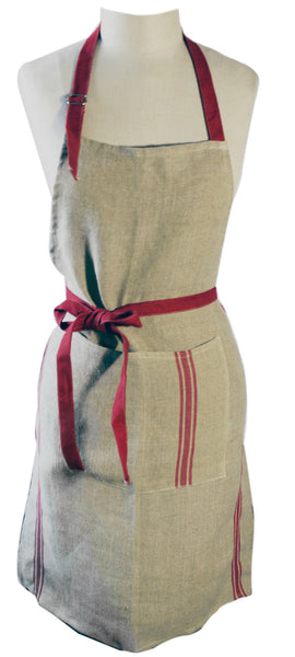 Thieffry Monogramme Linen Red Full Apron