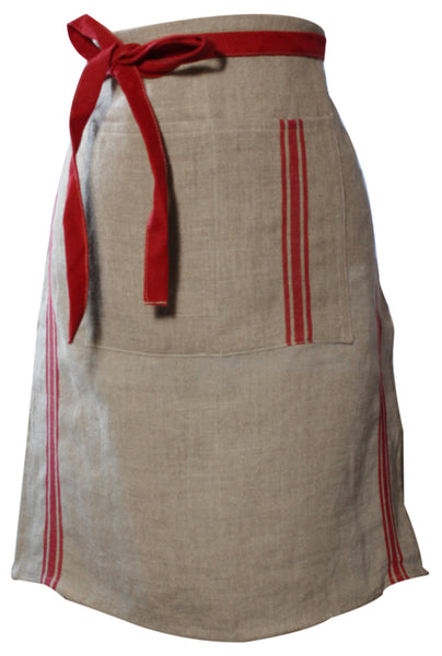 Thieffry Monogramme Linen Red Half Apron