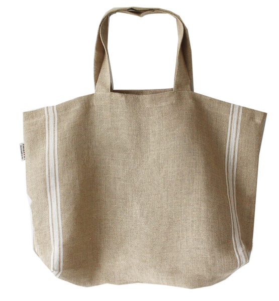 Thieffry Monogramme Linen White Shopping Bag