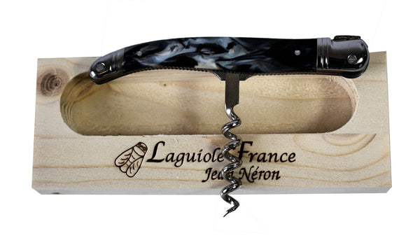 Laguiole Black Marble Corkscrew with Cutting Wheel