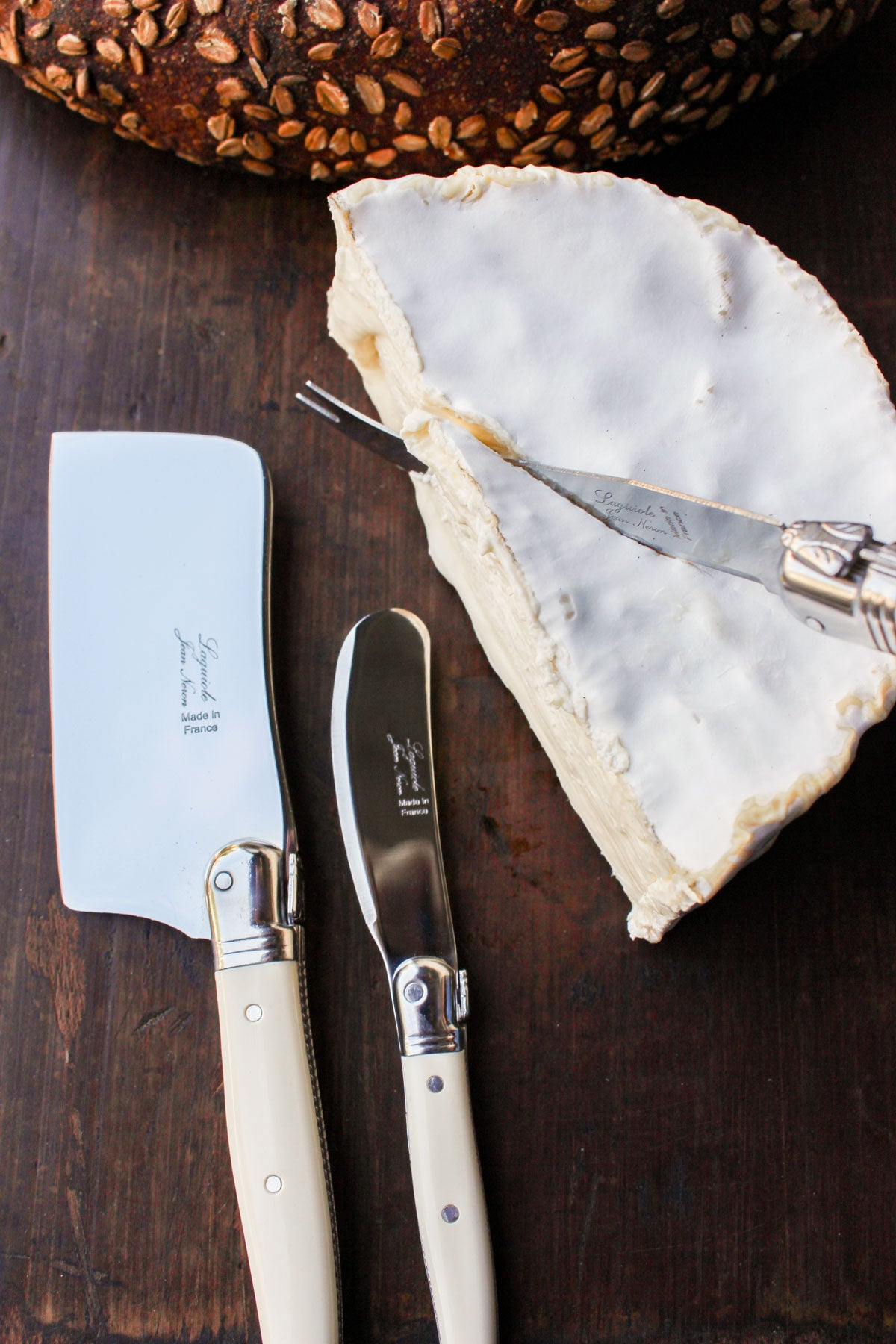 Laguiole Ivory Mini Cheese Set in Brown Box (Cutter, Spreader, Fork Tipped Knife)