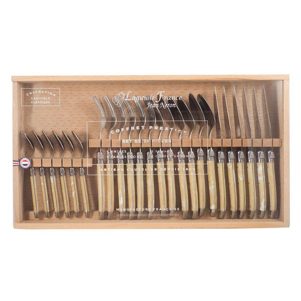Laguiole Pale Horn Flatware in Wooden Box with Acrylic Lid (Set of 24)