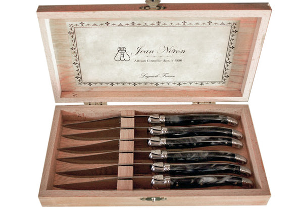 Laguiole Black Marble Knives in Presentation Box (Set of 6)