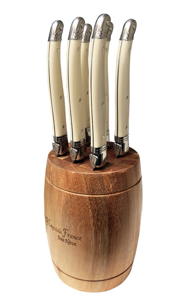 Laguiole Ivory Knives in Barrel Block (Set of 6)