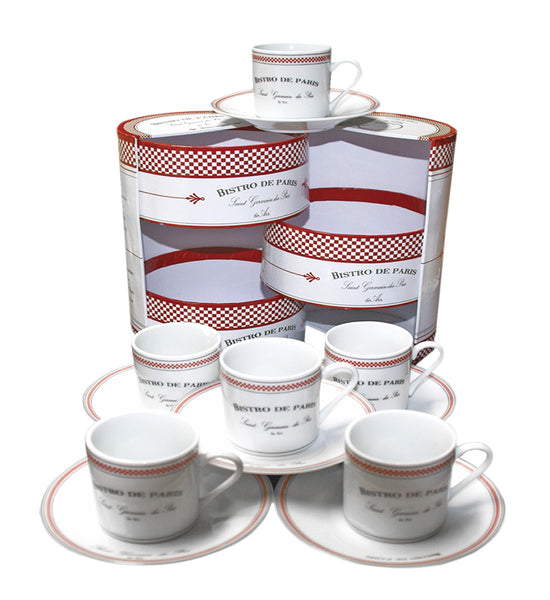 Bistro de Paris Espresso Cups & Saucers (Set of 6)