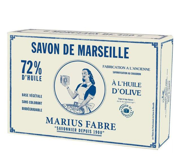 Set of 6 Green Marseilles Cube Soap in a Box - 400g each