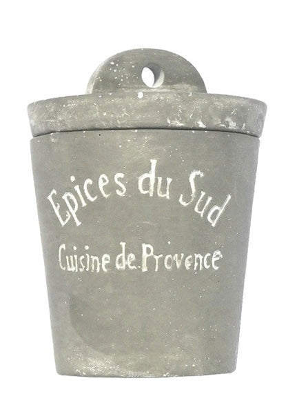 Small Stone Cement Provence Herbs Jar