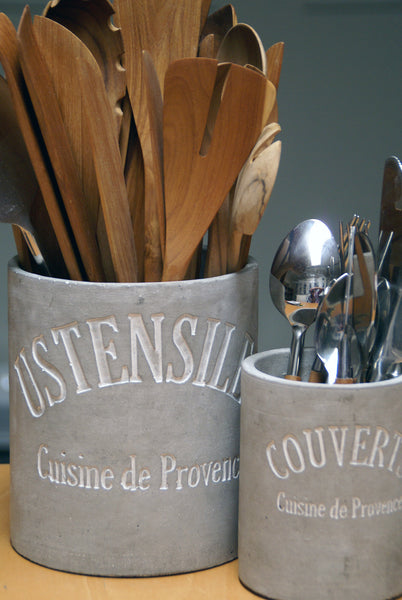 Stone Cement Cutlery Crock