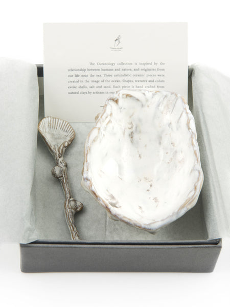 Yarnnakarn Oceanology Oyster Bowl #3  with Limpet Spoon Set
