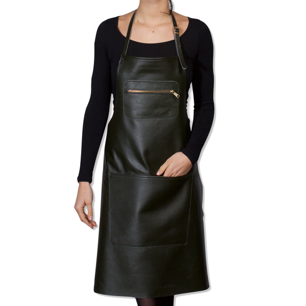 "Dutchdeluxes Full Length Zipper Style ""Amazing Apron"" in Forest Green"