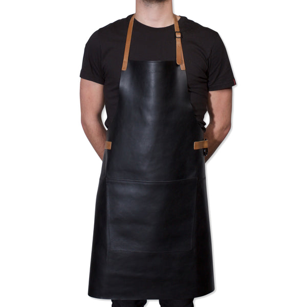 "Dutchdeluxes Full Length BBQ Style Black with Cognac Straps ""Amazing Apron"""