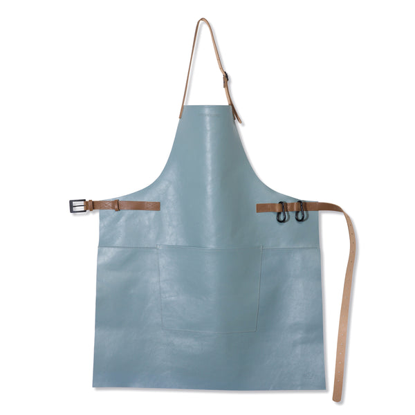 "Dutchdeluxes Full Length BBQ Style Dusty Blue with Cognac Straps ""Amazing Apron"""
