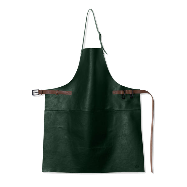"Dutchdeluxes Full Length BBQ Style Forest Green with Cognac Straps ""Amazing Apron"""