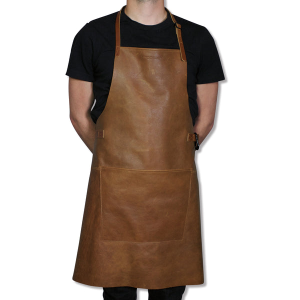 "Dutchdeluxes BBQ Style ""Amazing Apron"" in Vintage Camel with Cognac Straps"