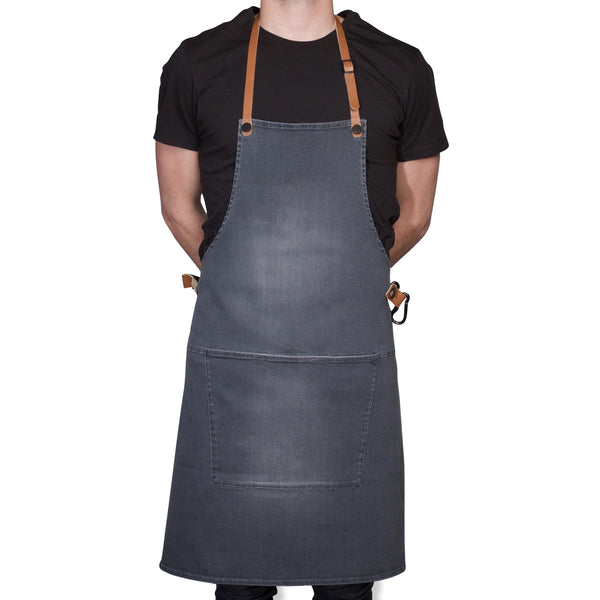 "Dutchdeluxes Full Length BBQ Style Washed Grey Denim ""Amazing Apron"""