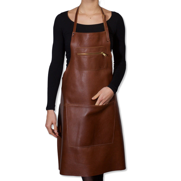 "Dutchdeluxes Full Length Zipper Style ""Amazing Apron"" in Classic Brown"