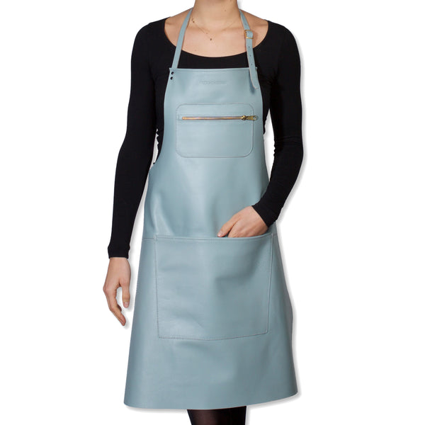 "Dutchdeluxes Full Length Leather Dusty Blue ""Amazing Apron"""