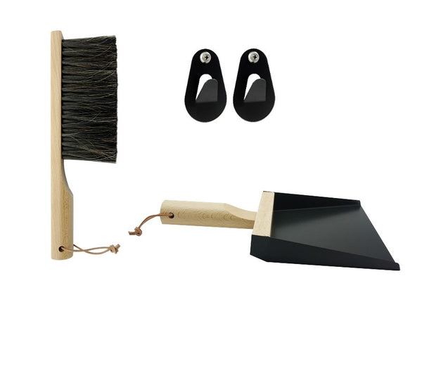 "Andrée Jardin Mr. and Mrs. Clynk Black Dustpan & Brush ""Coffret"" Gift Set"