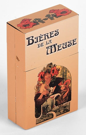 Mini Hinged Tin Box Mucha Bieres de la Meuse