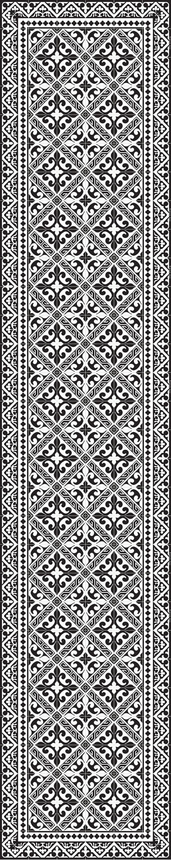 "Beija Flor Black and White Fleur de Lys Extra-Long Table Runner (13"" x 60"")"