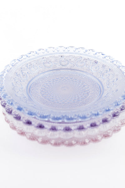Dentelle Chantilly Glass Plate in Aquamarine