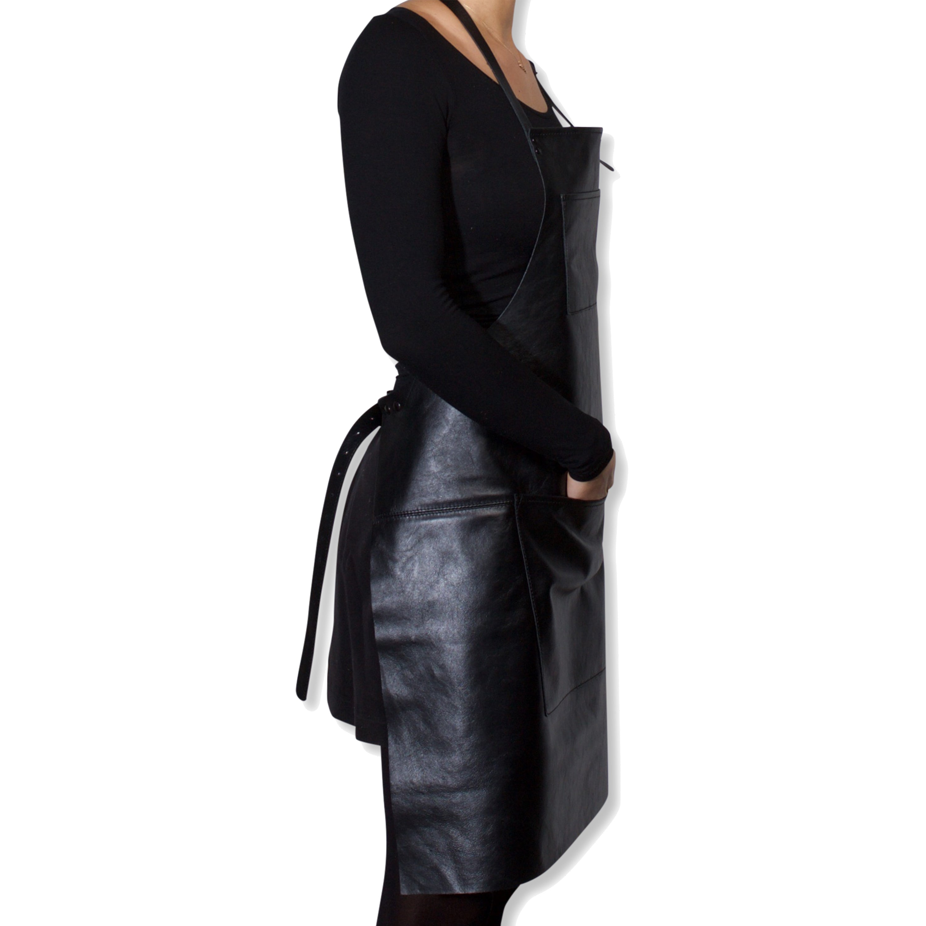 "Dutchdeluxes Full Length Coated Black Apron Leather ""Professional Apron"""