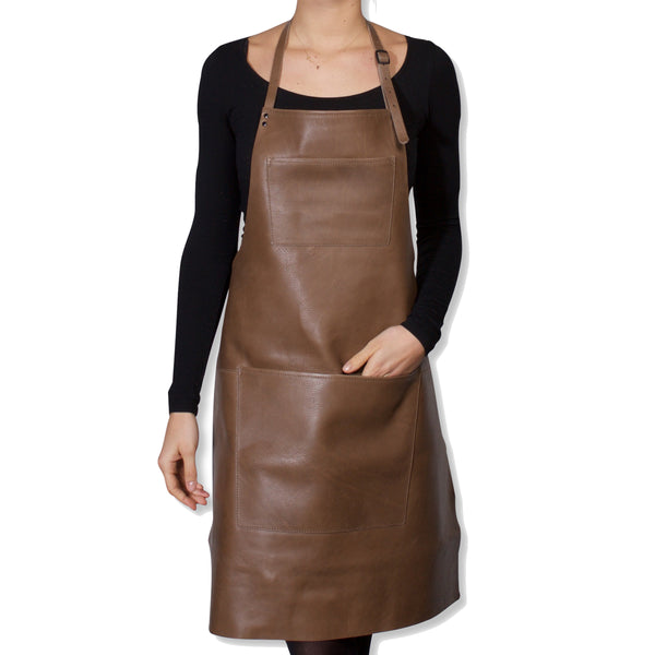 "Dutchdeluxes Full Length Coated Taupe Leather ""Professional Apron"""